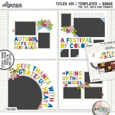 Titled 01   Templates + Bonus Facebook Cover by Akizo Designs - For Digital Scrapbooking layout, Autumn fall page