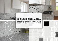 Luna Pearl granite countertop with white glass metal kitchen backsplash tile and white kitchen cabinets. White kitchen backsplash tile ideas.