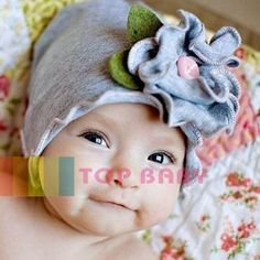 Grey Flowers in the Field Beanie/Hat - Baby Girls Clothes
