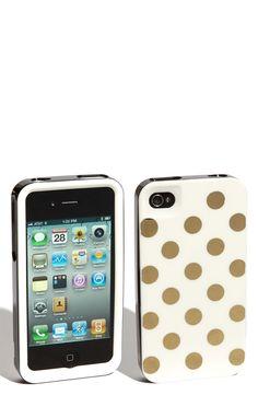 Kate Spade gold/black/white polka dot iPhone case