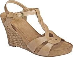 """by Aerosoles """"Stone Plush"""" T-Strap Wedge Sandals Platform Wedge Sandals, T Strap Sandals, Wedge Shoes, Women's Sandals, Hot Shoes, Nude High Heels, Nude Wedges, Women's Wedges, Wide Width Shoes"""