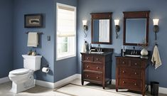 Drawn towards the blue with dark cabinets.