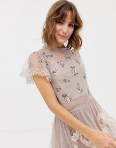 Needle   Thread embellished crop top in rose Needle And Thread Clothing dfb070f3b