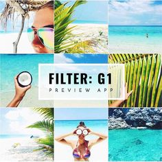 Tropical, beach, summer Instagram theme ideas using tropical filter G1 in Preview app. This is how I made this theme: I use filter G1 only G1 is perfect to make the greens saturated Make photos brighter Make the blue more turquoise Amazing on skin / selfies