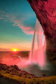 Sunset At Seljalandsfoss, Iceland.