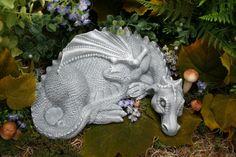 Queen Dragon Sculpture - Handmade Outdoor Fantasy Garden Concrete Art. $54.99, via Etsy.