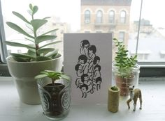 botanical vignette. it's difficult for me to not think of them as little people in a family portrait.