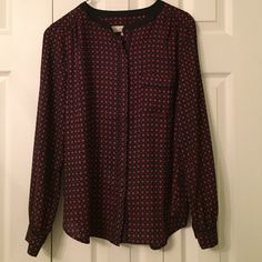 Loft Blouse/top/shirt Hip, current and trendy Loft top in blue and burgundy. LOFT Tops Blouses