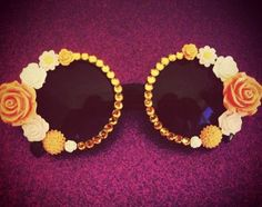 Your place to buy and sell all things handmade Bestival, Four Eyes, Happy Birthday Me, Fancy Dress, Round Sunglasses, Peach, Desert Island, Drop Earrings, Retro