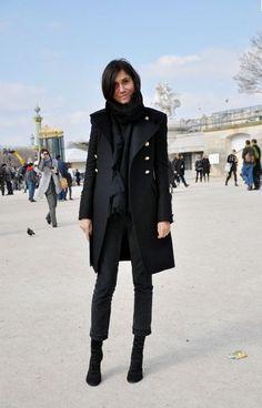 Emmanuelle Alt Black on Black   Street Style