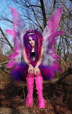 Pink & purple butterfly rave outfit