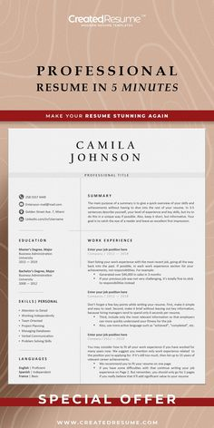 Modern nurse resume template that will help to get the job of your dreams faster! Easy to customize on Word and Apple Pages. Designed by an experienced CreatedResume team these resume templates will catch an eye and help you outstand from the others. #resume #resumetemplate #modernresume #resumeformat #resumedesign #resumetips #createdresume #cv #cvtemplate Nursing Resume Template, Resume Templates, Registered Nurse Resume, Modern Cv Template, Microsoft Word 2007, Good Resume Examples, Modern Resume, Resume Format, Cover Letter Template