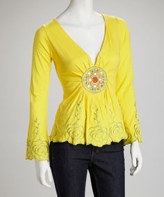 Take a look at this Yellow Mandala Long-Sleeve Top by Royal Handicrafts on #zulily today!