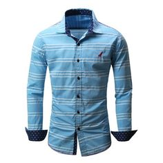 21.81$  Buy now - http://dis8x.justgood.pw/go.php?t=203946410 - Button Front Embroidered Striped Shirt
