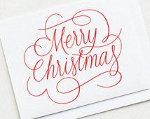 Typography Merry Christmas card with envelope. Hand-lettered Calligraphy Christmas card.
