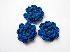 Crochet Flowers Appliques. Crochet Flower Blue. Crochet Decoration