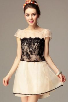 Sweet Floral Detailed Lace Embellishment Dress OASAP.com