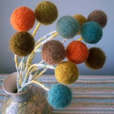 Wool pom pom flowers. Beach colors. Cottage chic. by berryisland