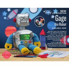 Any little would welcome Gage the Robot into their arms! Comes with your choice of Scent Pak!