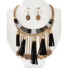 """Charm Necklace Set Burnished Gold Tone / Black Suede & Wrapped Thread / Lead&nickel Compliant / Metal / Fish Hook (earrings) / Tassel Charm / Necklace & Earring Set •   LENGTH : 16"""" + EXT •   EARRING : 1 3/8"""" •   DROP : 3 3/4""""  •   GOLD/BLACK R.E.A.L Jewelry Jewelry Necklaces"""