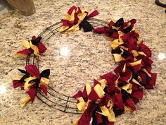 DIY FSU Fabric Wreath. Be easy half and half wreath for family divided!!