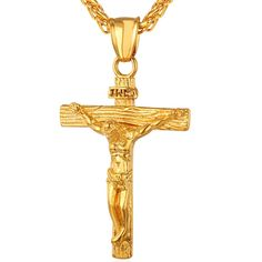 INRI Crucifix Jesus Piece Stainless Steel Pendant & Necklace for Men Catholic Religious Cross Gold Hip-hop Jewelry Gifts Cross Pendant, Gold Pendant, Pendant Necklace, Necklace Charm, Pearl Necklace, Mens Gold Crucifix Necklace, Gold Jesus Piece, Jesus Necklace, Men Necklace