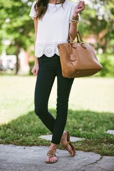 @roressclothes clothing ideas #women fashion white blouse, black jeans, flip flops