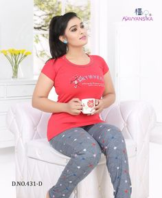 KAVYANSIKA 431 DESIGNER CLASSY FANCY CASUAL PREMIUM HOSIERY COTTON NIGHT SUITS AT WHOLESALE PRICE South Indian Actress Photo, Indian Actress Pics, Bollywood Actress Hot Photos, Most Beautiful Indian Actress, Night Wear Dress, Night Suit For Women, Chubby Fashion, Curvy Girl Lingerie, Stylish Girl Pic