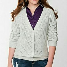 16W Lane Bryant v-neck Pointelle Cardigan Sweater Pointelle cardigan sweater from Lane Bryant in a size 16W. Color is heather gray. Classic button front design. Ribbed cuffs and hem. New with tags. Lane Bryant Sweaters Cardigans