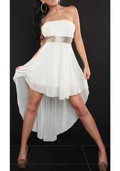 a558155503a863 White Bandeau Irregular Draped Backless High-Low Homecoming Prom Party Midi  Dress