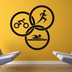 Triathlon Circles Athletics Wall Art Sticker Wall Decals - Sports & Hobbies