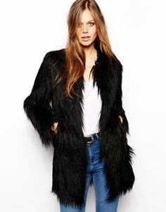 Unreal Fur Wanderlust Coat in Black Faux Fur