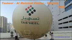 A 5m Diameter customized Helium INFLATABLE Balloon was produced for Tas'heel – Al Malomat Center with their BRANDING and placed above their OFFICE building in Sharjah, UAE.