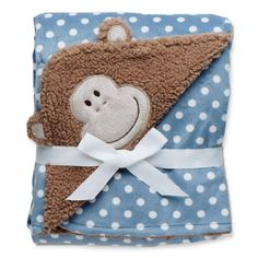 Monkey and Dots Embroidered Blanket