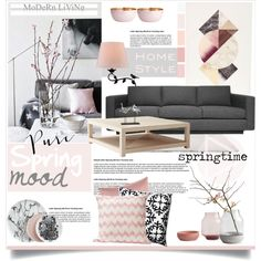 Spring Mood by dedeata on Polyvore featuring polyvore interior interiors interior design home home decor interior decorating Serena & Lily Thos. Baker ferm LIVING 5 Surrylane H&M Cyan Design iEva Spring Home homedecor homedesign