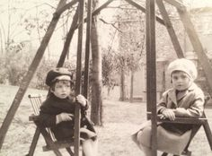 Bobby and Pat on the double swing in Riverdale, circa 1928