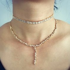 Jessa Chain Drop Choker Necklace Set . Set of Two Cubic Zirconia Diamond Drop Chokers with  Dainty Chains. These Gorgeous Women's Diamond Drop Chain Choker Necklaces available in Gold, Rose Gold or White Gold Plating. Great Art Deco Jewelry Necklaces and Chokers for Weddings, Formal Occasions and Gifts for Her.   Two Piece Set, Adjustable size, Cz Diamonds   Made Upon Order  Please Allow Two Weeks Production Time