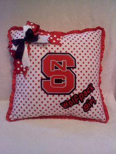 NCSU Wolfpack Girl Pillow North Carolina State by MamaBern cute idea to make her sports stuff more girly