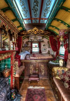 Inside gypsy caravan, Faerie magazine