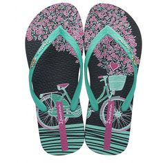 Made in Brazil Recyclable Sustainable Fun flip-flop with fun bicycle print footbed Metallic badge bicycle trim Inspired by the beaches of Rio Green Sandals, Green Shoes, Pink Shoes, Black Sandals, Black Shoes, Pink Flip Flops, Black Flip Flops, Flip Flop Sandals, Boots