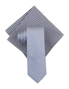 Tallia Orange Blois Dot Silk Tie and Pocket Square Set Men's Blue
