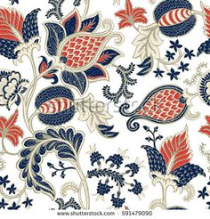 Seamless pattern with fantasy flowers, natural wallpaper, floral decoration curl illustration. Home decor. Grid Layouts, New Theme, Paisley Print, Background Images, Hand Embroidery, Hand Drawn, Color Schemes, How To Draw Hands, Floral Prints