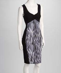 Take a look at this Black & White Zena Sheath Dress by PB Couture on #zulily today!