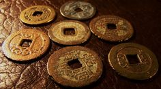 7  Old  Chin  Dynasty  Coins1 by myperfectbeads on Etsy, $14.00