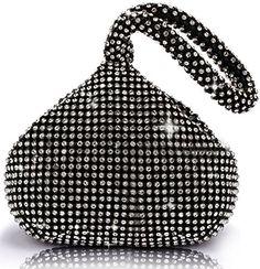 ANDI ROSE Luxury Full Rhinestone Trihedral Clutch Party Evening Designer Bags Purses Handbag (Black)