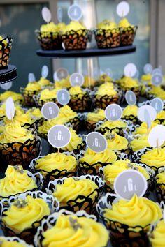 James + Lyndsay's Wedding Cupcakes. Gray, Yellow, Black, White.