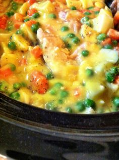 Crock pot chicken pot pie. Just do without the pie crust for gluten free!!