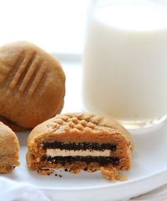 Peanut Butter Cookies stuffed with Peanut Butter Oreo's!