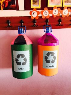 Geridönüşüm Montessori Education, Plastic Spoons, Diy Recycle, Recycling Bins, Diy Toys, Science, Preschool Activities, Diy And Crafts, Classroom