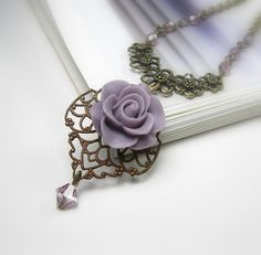 Lilac and Amethyst Victorian Style Pendant Necklace from jewelry by NaLa = love